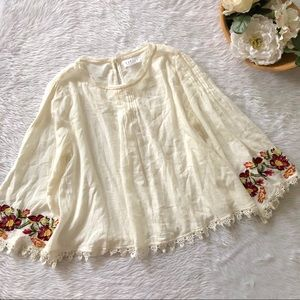 Velvet Cream Blouse with Embroidered Sleeve